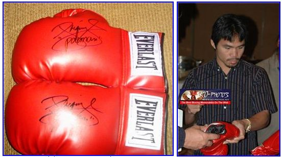 Signed Manny Pacquiao red gloves